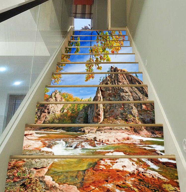 3D Kokosnuss-Fluss Stair Risers Dekoration Fototapete Vinyl Aufkleber Tapete DE