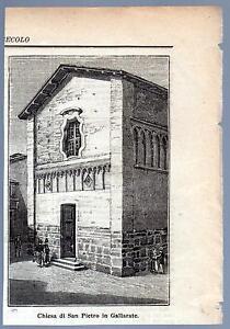 GALLARATE-VARESE-XILOGRAFIA-CHIESA-SAN-PIETRO-LE-CENTO-CITTA-039-D-039-ITALIA-1896