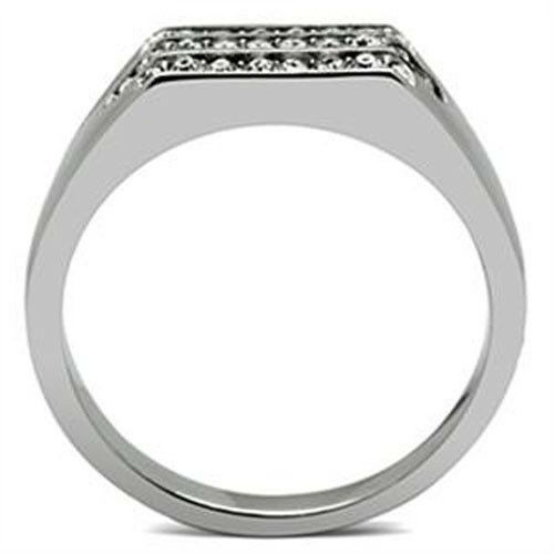 26 Clear Crystal Stones Silver Stainless Steel Mens Ring