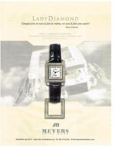PUBLICITE ADVERTISING   2002     MEYERS montre LADY DIAMAOND