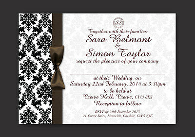 BLACK & WHITE DAMASK PERSONALISED WEDDING AND/OR EVENING INVITATIONS -  Y