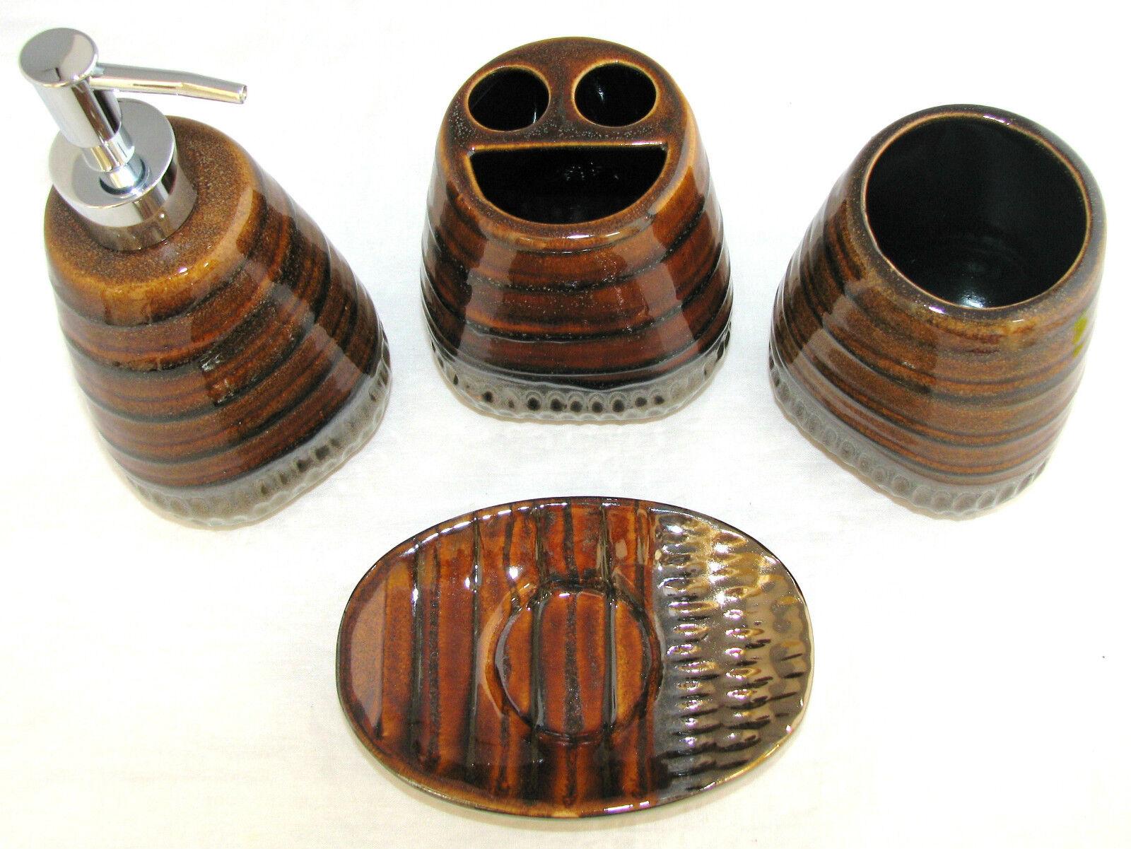 NEW-4 Pc Ensemble Ensemble Ensemble Marron Design Céramique Distributeur de Savon | Belle Qualité  25890e