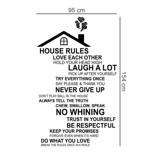 Swarovski Crystals /& Rooftop House Rules Decals Home Decoration Wall Stickers
