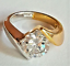 thumbnail 6 - Ladies Silver Gold Plated Solitaire  Ring Size 4.5 9.5 10 Cubic Zirconia