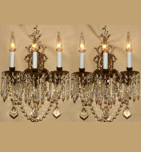 2-Vintage-brass-Bronze-Crystal-prism-lamp-Sconces-ROCOCO-French-lighting-decor