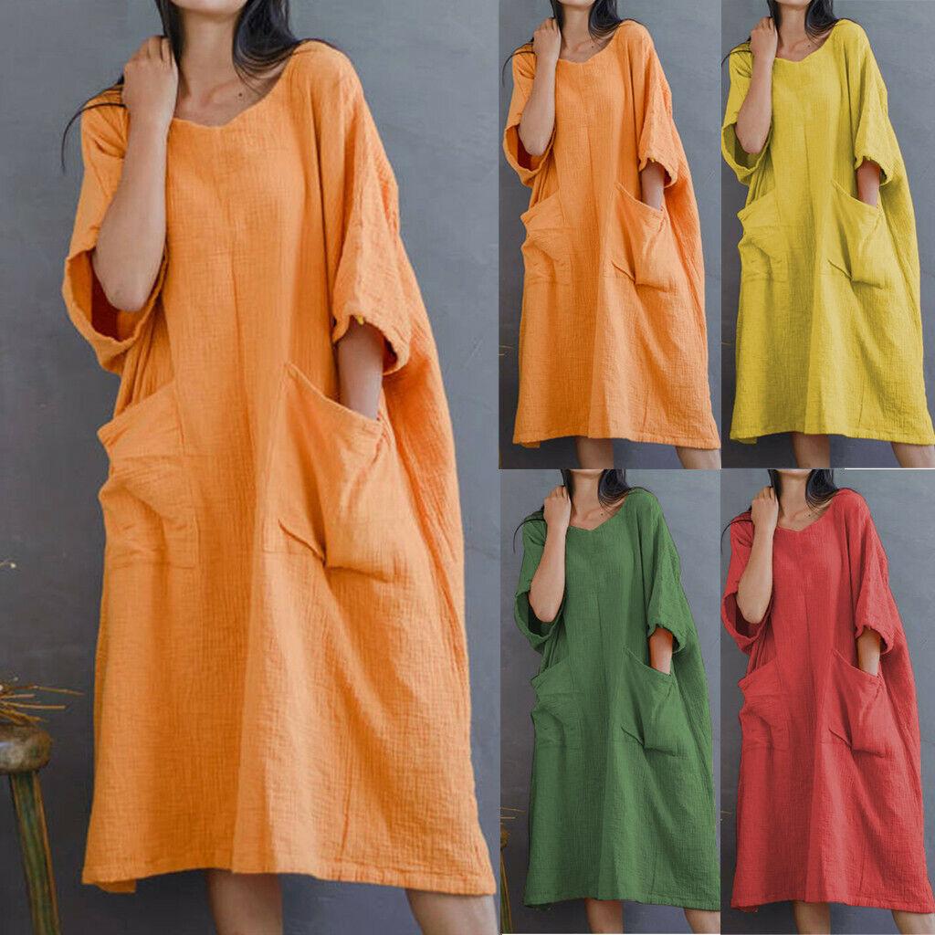 Women Solid Half Sleeve Big Pockets Cotton Linen Loose O-Neck Casual Long Dress