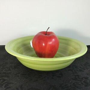 Citrus-Grove-Hand-Painted-Brush-Stroke-Swirl-Pattern-Bowl-Glossy-Green-8-5-034-EUC