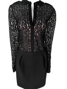57fa09038 La imagen se está cargando Mujer-Karen-Millen-Leopardo-Negro-Encaje-Holgado- Camisa-