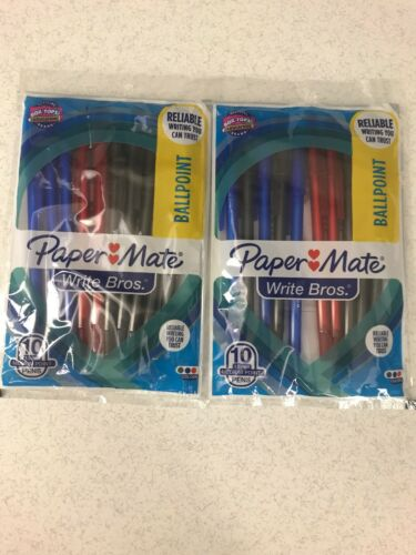 Lot of 20 Papermate Pens BLACK BLUE /& RED 1.0mm Medium Point Write Bros NEW