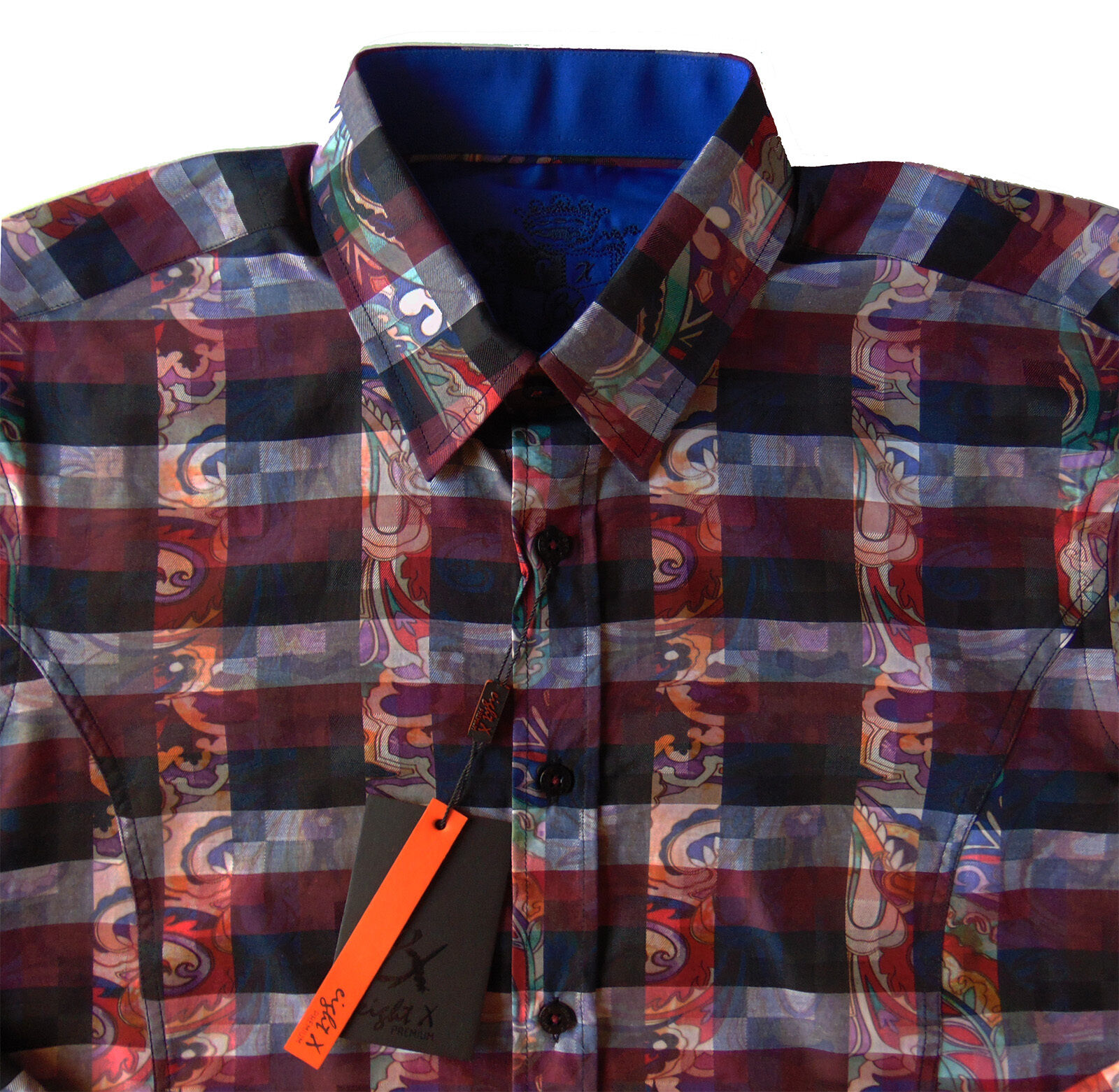 Men's EIGHT X 8X PREMIUM Red color Plaid Paisley Shirt Small S NEW NWT Slim Fit