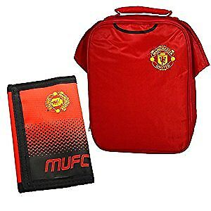 new arrival 7b5fd ee99d Details about Manchester United Kit Design Lunch Bag and Fade Wallet Combo