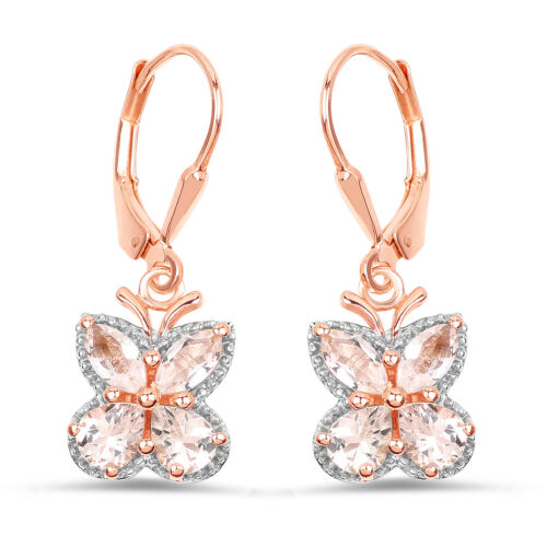 925 Sterling Silver Lever Back Drop Gemstone Earrings 1.88ct Genuine Morganite