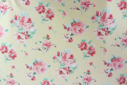 Sophie Soft Yellow Floral Print  Cotton 140cm wide Curtain//Craft Fabric