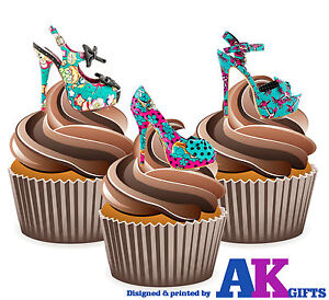 Precut Gothic Skull High Heel Shoes 12 Edible Cupcake Toppers Cake