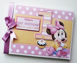 ANY DESIGN PERSONALISED DISNEY BABY MINNIE FIRST//1ST BIRTHDAY GUEST BOOK
