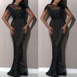Damen Pailletten Kleid Partykleid Abendkleid Ballkleid ...