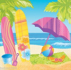 SURFS-UP-LUNCH-NAPKINS-PARTY-TABLE-DECORATION-TROPICAL-BEACH-LUAU-HAWAIIAN