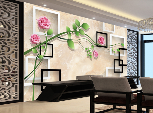 3D Flowers Grün Leaf Vines Paper Wall Print Wall Decal Wall Deco Indoor Murals