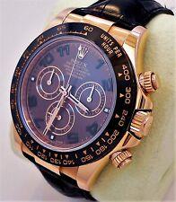Rolex Daytona 116515 LN 18K Rose Gold Cosmograph Chocolate on Leather *MINT*