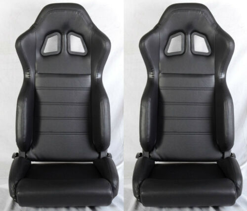 SLIDER RECLINABLE ALL FORD MUSTANG NEW 2 BLACK PVC LEATHER RACING SEATS