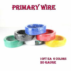 60-Feet-6-Colors-10FT-EA-Copper-Primary-Wire-Automotive-Remote-Cable-20-Ga-Gauge