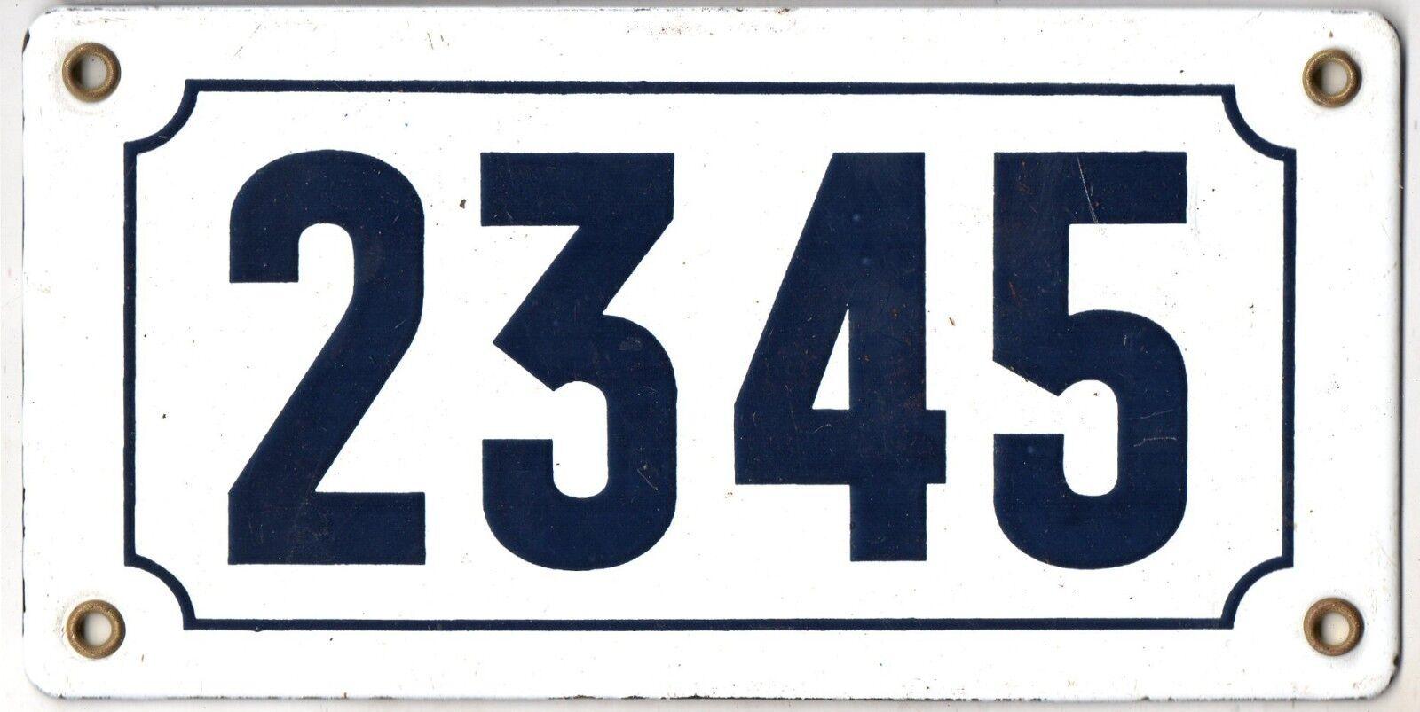 Old French house number 2345 door gate plate plaque enamel steel metal sign