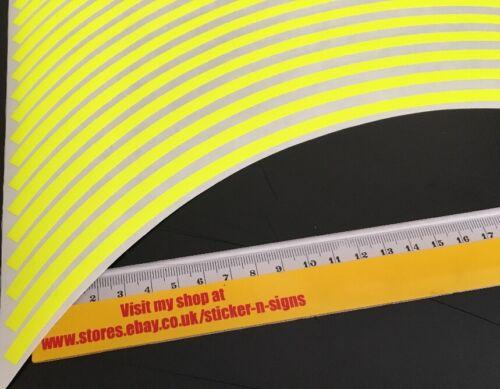 1 Set Fluro Yellow 6mm Bike Wheel Sticker Stickers 2x Wheels 4x Sides Yamaha