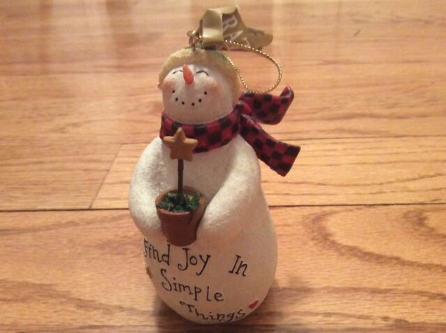 Deb Strain Find Joy in Simple Things Snowman Christmas Ornament New! | eBay