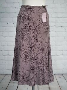 EWM-Collection-Long-Skirt-Size-14-Floral-Tweed-Fishtail-Flippy-Burgundy-NEW-TAGS