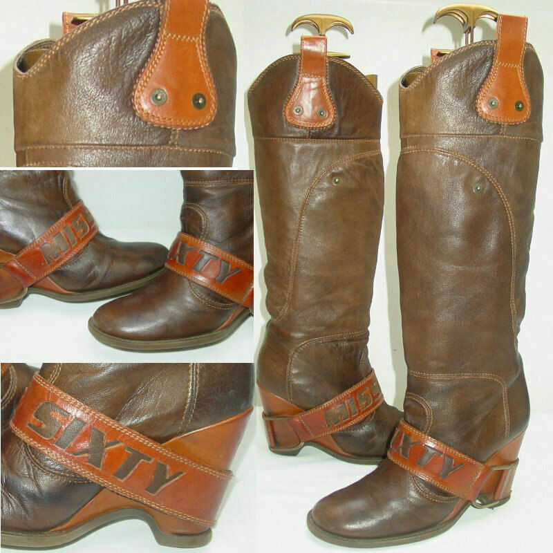 EXCLUSIVE MISS SIXTY LARA TAN LEATHER BOOTS  COMPLETELY SOLD-OUT WORLDWIDE