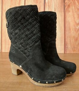 68818a34252 UGG Lynnea Approx 6 6.5 or 7 Black Suede Leather Clog Weaved Boots ...
