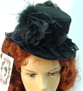 Mini-tophat-wool-felt-Riding-Hat-Ladies-Black-OldWest-Victorian-Westworld-style