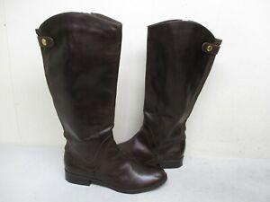 STEVEN-Steve-Madden-Sady-Brown-Leather-Zip-Knee-High-Riding-Boots-Womens-Sz-9-M