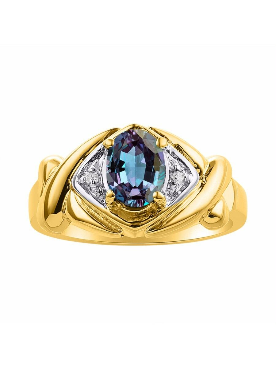 Diamond & Simulated Alexandrite Ring Set In 14K Yellow gold - XO Hugs & Kisses -