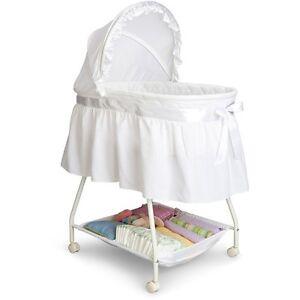 Details About Baby Binet Delta Children Cradle White Moses Basket Nursery Furniture New