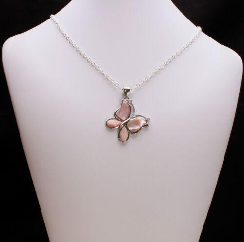 Rosa De Concha De Perla Mariposa Colgante Collar
