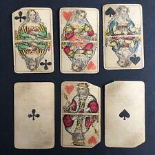 Lot de 6 Cartes A Jouer Anciennes Début XIXè Antique French Playing Cards 19thC