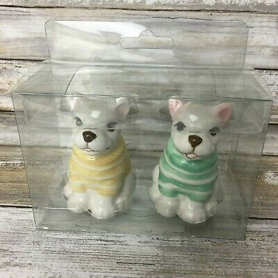 Ceramic Yellow Frenchie French Bulldog Salt and Pepper Shakers Made In Japan