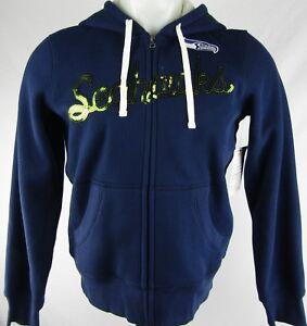 Seattle Seahawks Women s Navy Blue Full-Zip Hooded Sweatshirt G-III ... 8b683d313