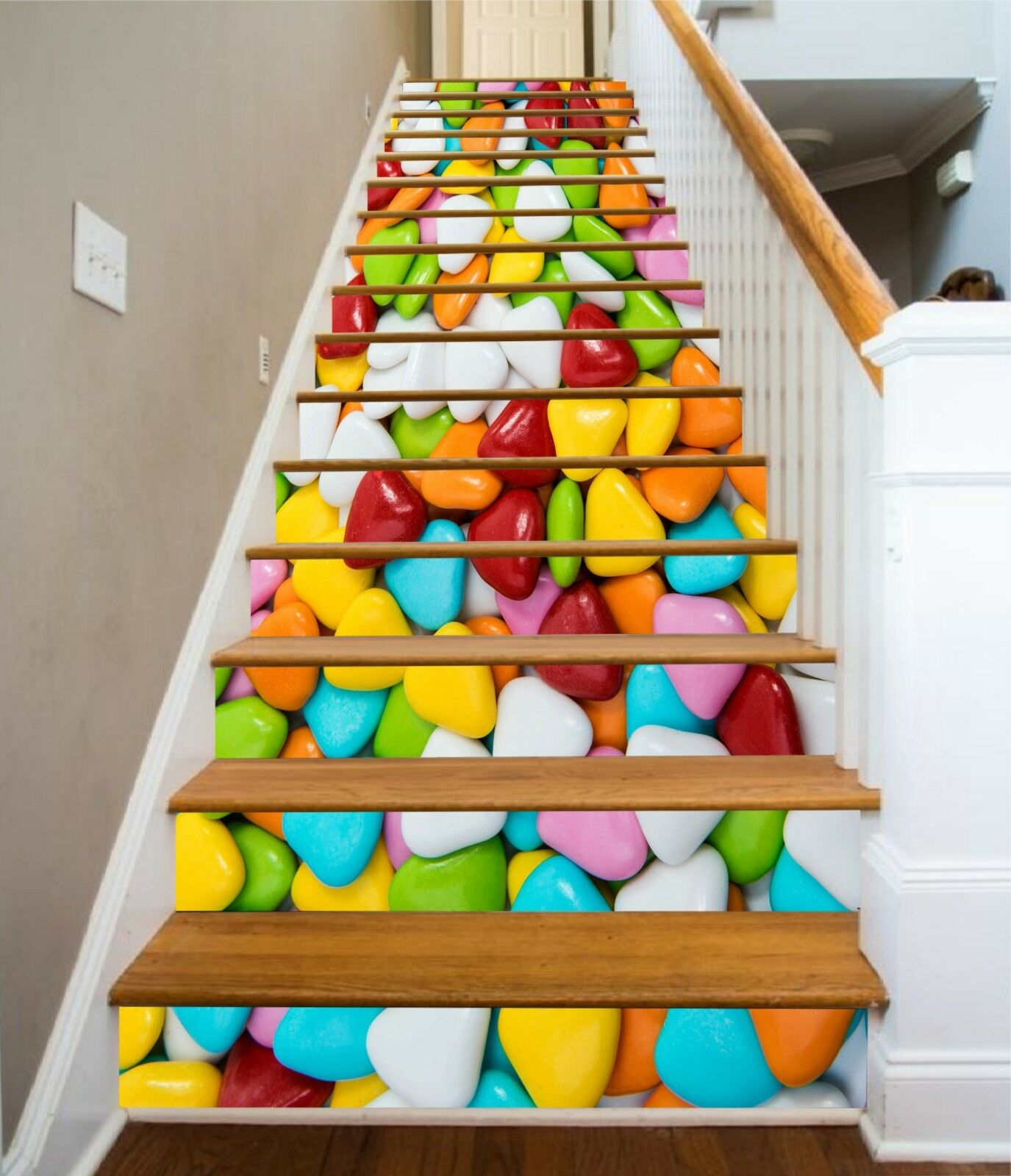 3D Candy Couleuruge 4 Stair Risers Decoration Photo Mural Vinyl Decal Wallpaper CA
