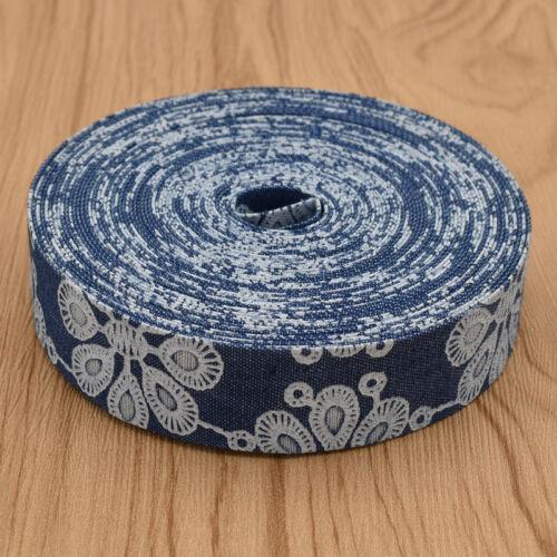 Cowboy Demin Fleur Imprimer Ruban Jeans Superposition Sangle À faire soi-même Hair Bow Accessoires