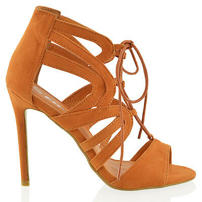 NEU Damen Schnürschuhe hoch Absatz Peep Toe Knöchel Riemchen ausgeschnitten