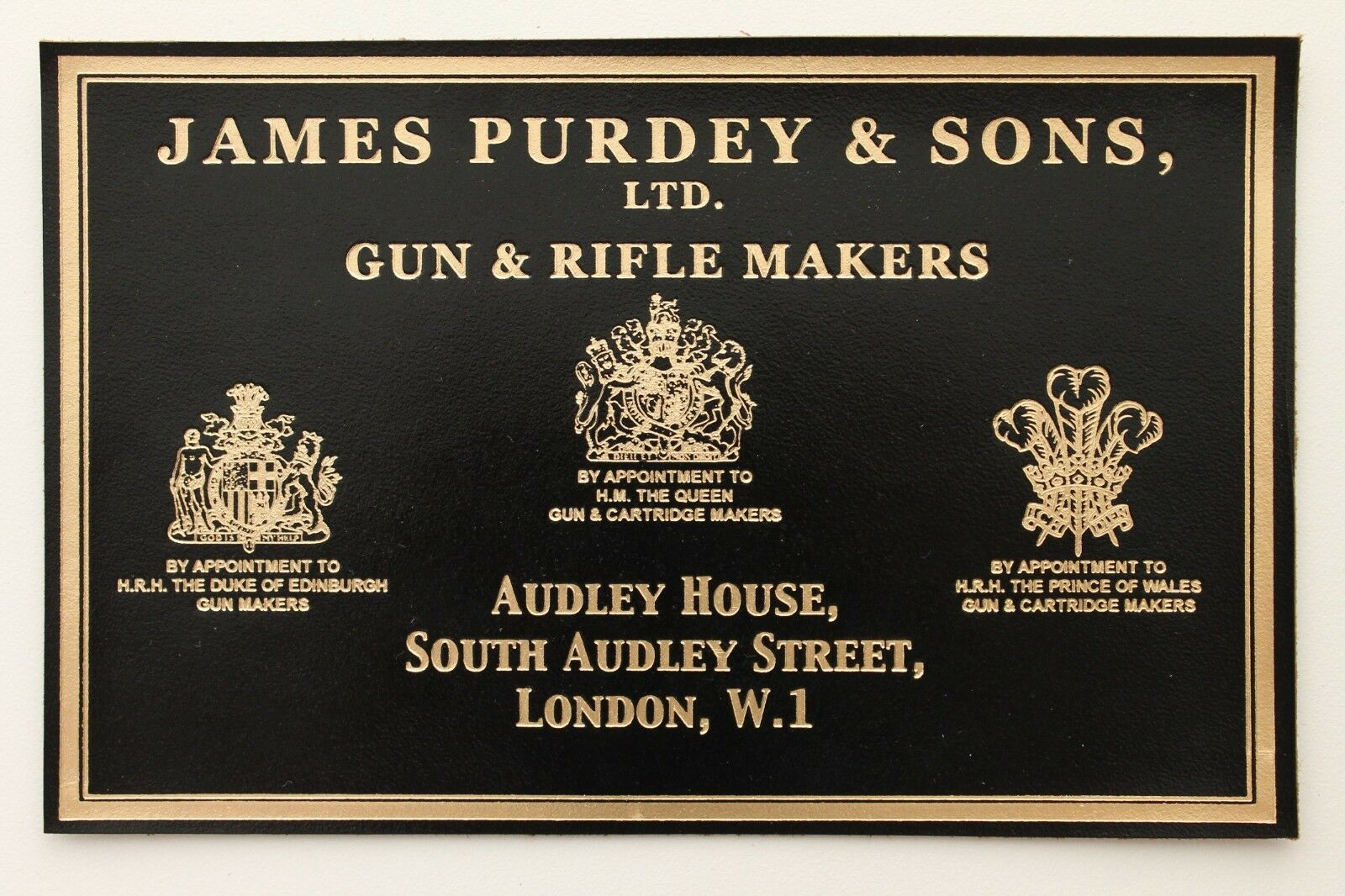 J. PURDEY & SONS LEATHER LABEL for SHOTGUN & RIFLE CASE for holland & holland