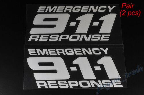 Pair SILVER 9-1-1 EMERGENCY RESPONSE Car Auto SUV Emblem Badge Sticker Decal