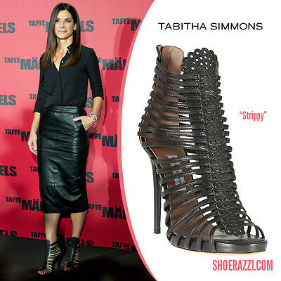 New Tabitha Simmons Strippy Strappy Sandals Bootie Black
