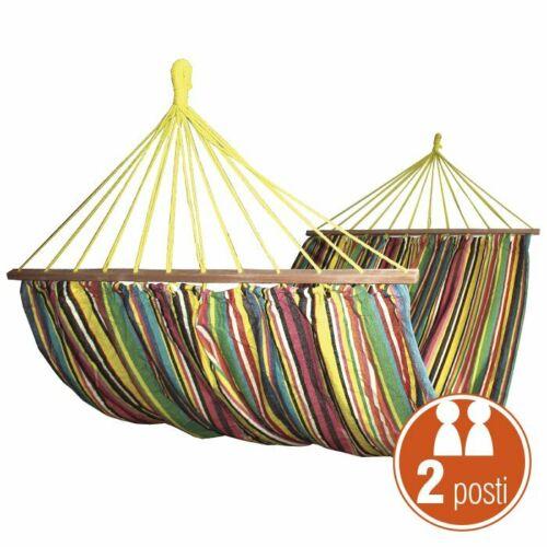 Amaca doppia Polycotton 220 x 160 cm Verdelook Multicolore Nuova Portata 120 Kg Per il giardino