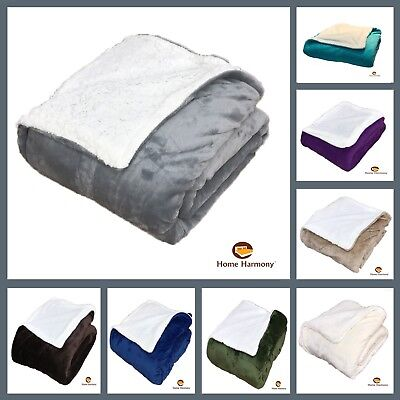 LARGE PLAIN EMBOSSED FLEECE BLANKET THROW OVER SOFA BED CHAIR SOFT WARM PLUSH
