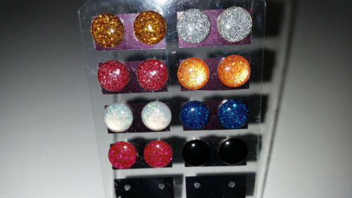 OFERTA ESPECIAL * 925 plata esterlina Tiny 8mm Esmalte Brillo Aretes Redondo