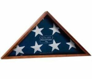 Walnut American Flag Display Case Veteran Military Shadow Box Burial Funeral