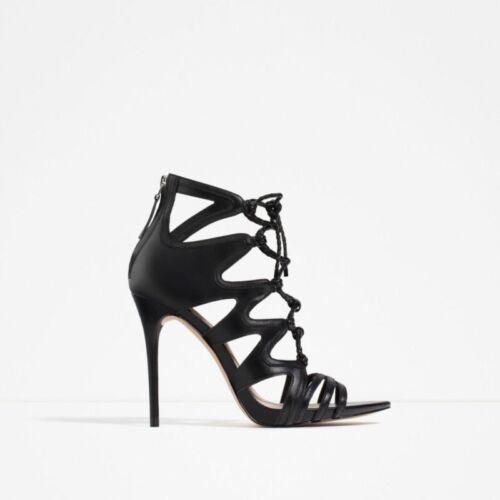 mit Zara aus Absatz Leder Schnürstiefeletten 41 Größe Schwarze hohem wwqWT7x1I